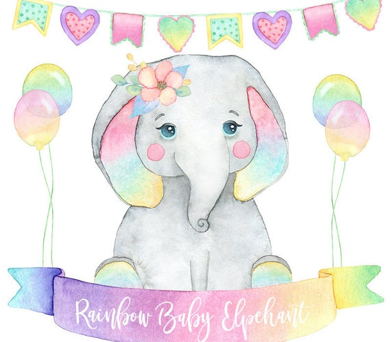 Elephant Clipart Watercolor Elephant Little Animal Hand Etsy Download this funny kid elephant vector illustration now. etsy