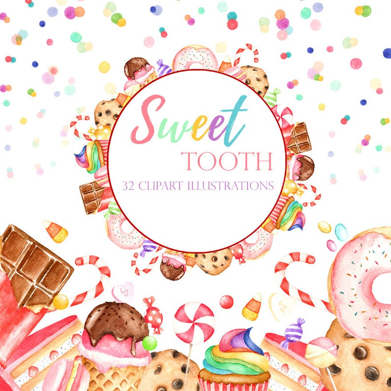 Candy Clipart Chocolate Art Lolly Clipart Donut Clipart Watercolor Sweets Pink Candy Graphics Patisserie Clipart Watercolor Candy