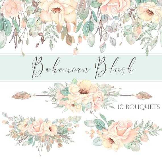 Clipart Collection Soft Blush Watercolor Floral Clipart Eucalyptus Boho Clipart Graphic Set White Watercolor Florals Wedding Flowers