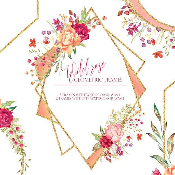 geometric floral frames rose gold frame clipart gold | Etsy