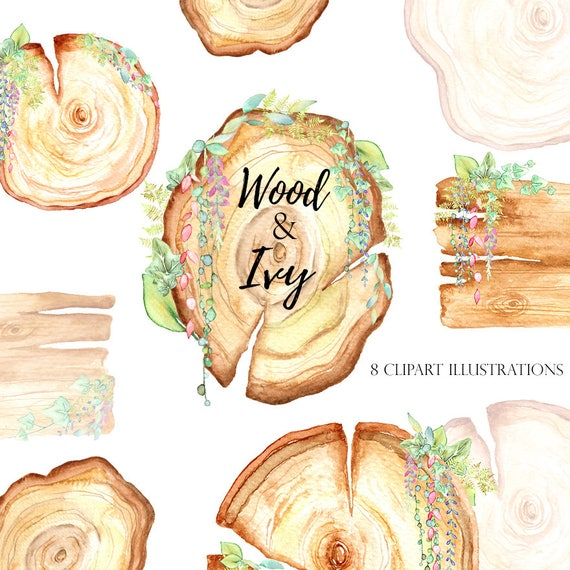Wooden Slices Watercolor Clipart Wooden Boards Frames Etsy