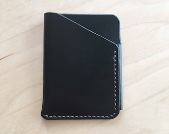 Leather Card Wallet, Black/Brown Thread
