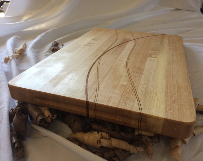 Artisan Hard Maple Cutting Board with Walnut, Maple and Exotic Lacewood Through Thickness Inlays