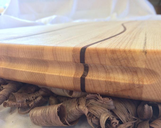 Handcrafted Hard Maple Cutting Board with Gently Curving Walnut and Maple Through Thickness Inlays