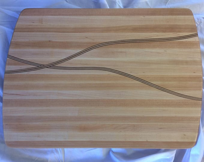 Handcrafted Hard Maple Cutting Board with Extra Wide Maple and Walnut Through Thickness Inlays