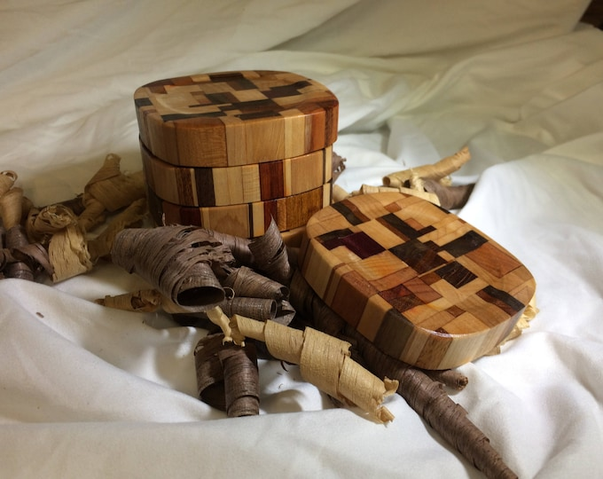 Set of 6 Pure Chaos Hardwood End Grain Coasters with Walnut, Maple, Cherry, Mahogany and Lacewood and More