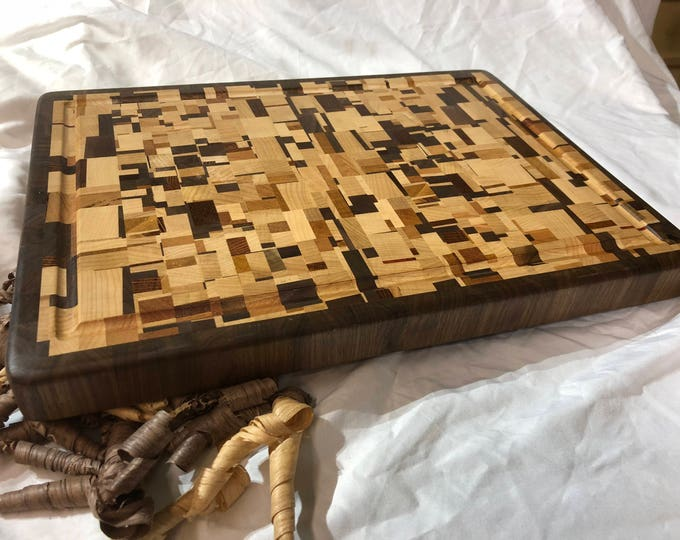 Pure Chaos Hardwood End Grain Cutting Board with Walnut, Maple, Cherry, Mahogany and Lacewood