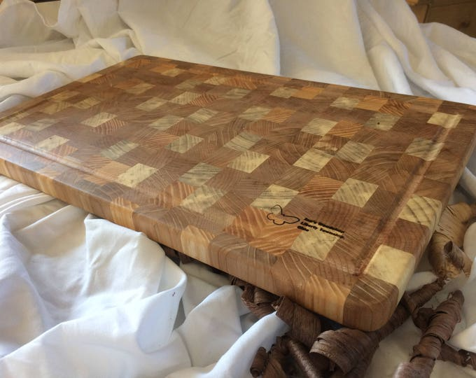 Board 144: Ohio Ash – A hardwood end grain cutting board made from locally grown Ohio Ash