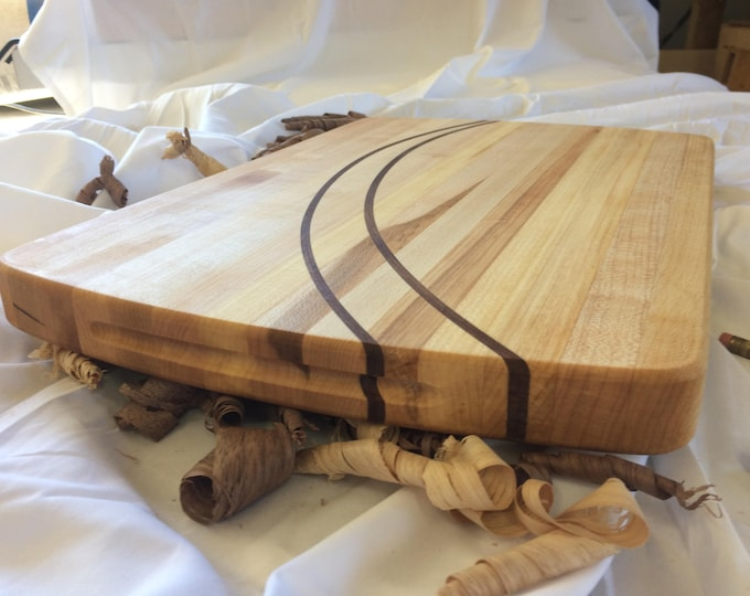 Handcrafted Artisan Hard Maple Cutting Board with Sweeping Arched Walnut Through Thickness Inlays
