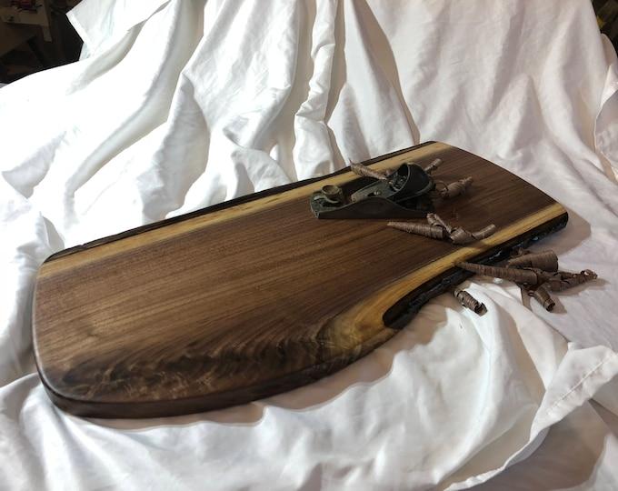 Board 146: Ohio Walnut– A live edge walnut cutting/serving board made from locally grown Ohio walnut