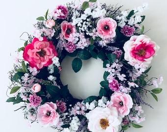Silk flower wreath etsy wreath silk flower wreath pink wreath door wreath indoor wreath grapevine wreath romantic wreath spring wreath summer wreath mightylinksfo