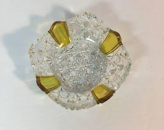 Rare Crystal / Amber Yellow Ash Dish