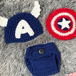 Captain America Classic Disney Marvel Infant Newborn Baby Outfit Beanie Hat Shield Diaper Cover Crochet Photography Photo Prop Costume