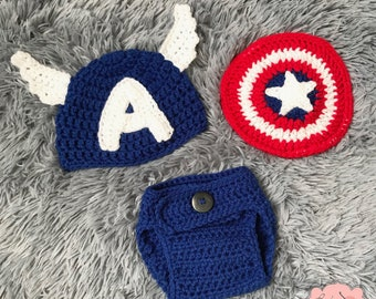 7a465b869c930 Captain America Classic Disney Marvel Infant Newborn Baby Outfit Beanie Hat  Shield Diaper Cover Crochet Photography Photo Prop Costume