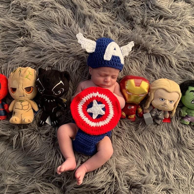 1ec414200 Captain America Classic Disney Marvel Infant Newborn Baby Outfit Beanie Hat  Shield Diaper Cover Crochet Photography Photo Prop Costume