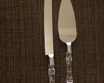 acrylic handled Engraved Knife and Server Set