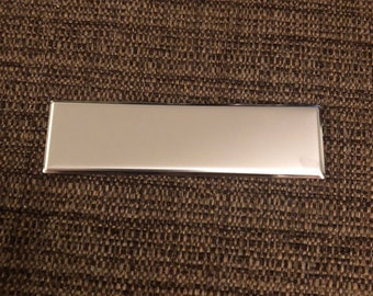 """Engraved Plate (adhesive backing) - silver 3.5""""x 1"""" (beveled edge)"""