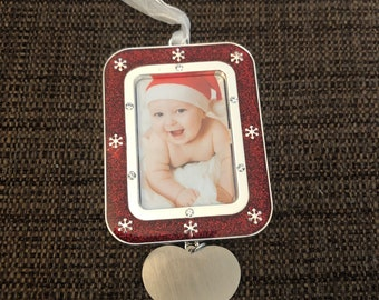 Engraved Christmas Tree Ornament (Snowflake frame and heart charm)