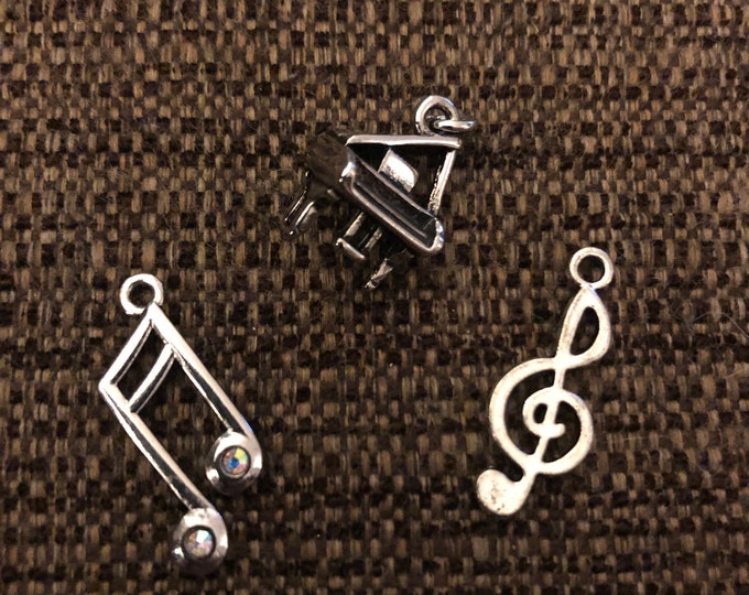 Music Charms (piano, treble clef and music notes) - set of 3