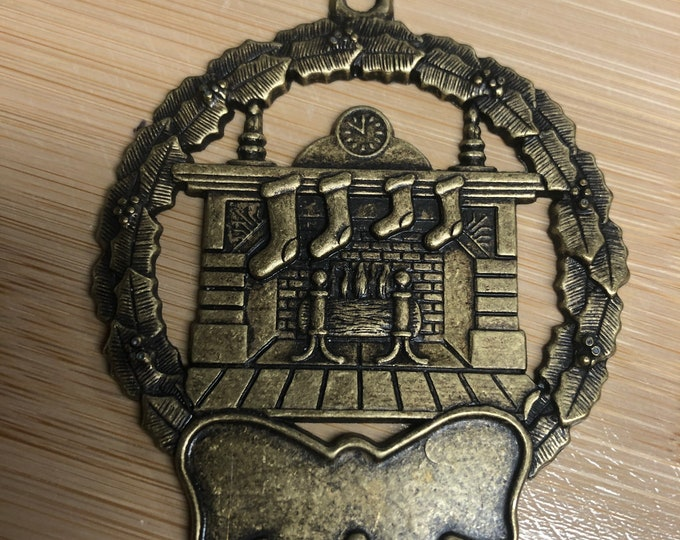 Engraved Christmas Tree Ornament (Fireplace and Stockings)