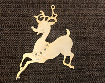 Engraved Christmas Tree Ornament (gold reindeer)