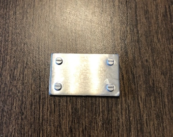 """1.25""""x0.75"""" Silver Plated Rectangle (with fake nails) - Engraved Plate (adhesive backing)"""