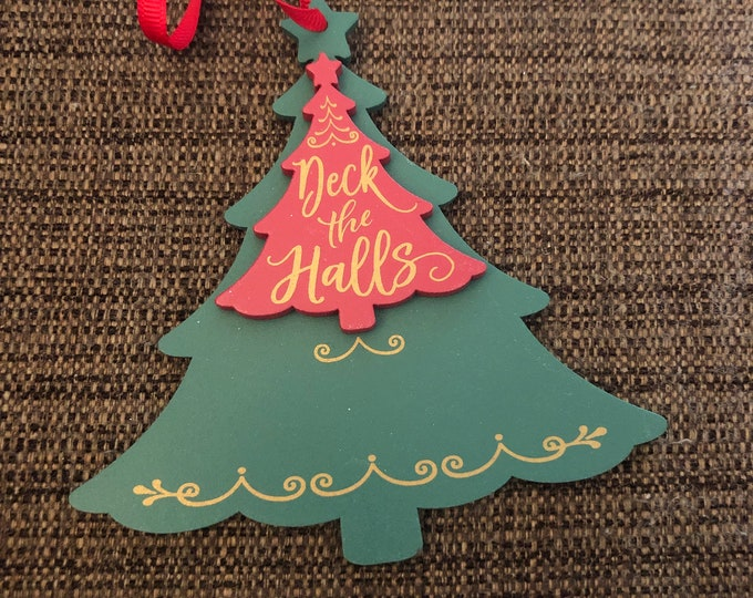 Engraved Christmas Tree Ornament (wooden deck the halls)