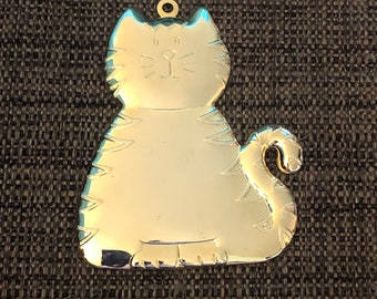 Engraved Christmas Tree Ornament (gold cat)