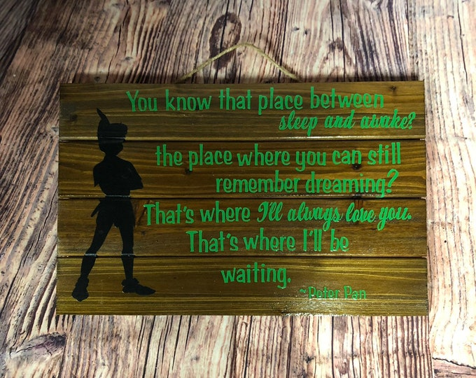 Wooden Pallet Sign - Peter Pan Quote