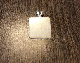 """0.625""""x0.625"""" square pendant charm (silver plated stainless steel)"""