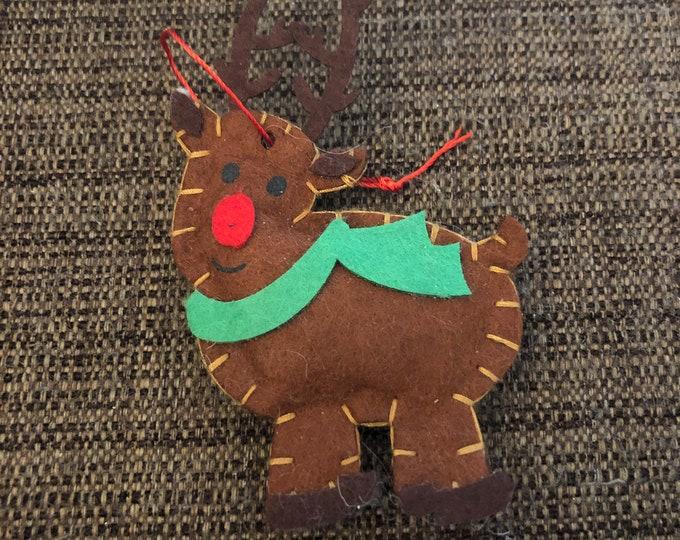 Engraved Christmas Tree Ornament (felt reindeer)