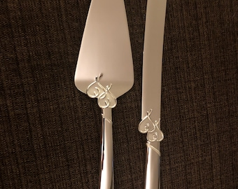 Lenox Double Hearts Engraved Knife and Server Set
