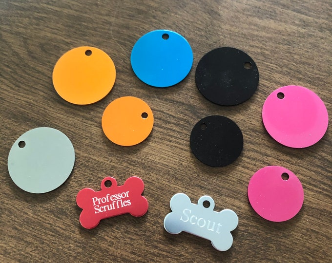 Engraved Aluminum Pet Tags (various colors and styles)