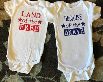 Custom Freedom Shirts (set of two) - available as a onesie, toddler shirt, kids or adult shirt