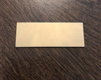 """2""""x0.75"""" gold brass - Engraved Plate (adhesive backing)"""