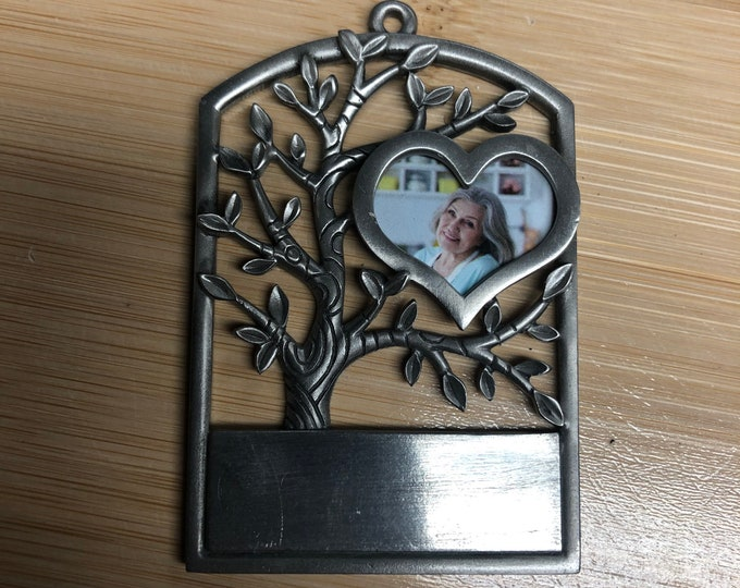 Engraved Christmas Tree Ornament (memory - holds photo)
