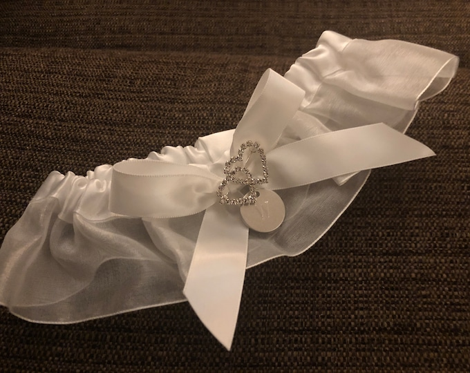 Double Heart wedding garter (personalized)