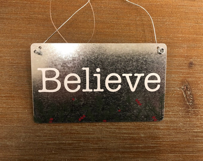 Engraved Christmas Tree Ornament (believe)