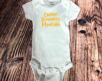 Onesie - caution screaming mandrake.