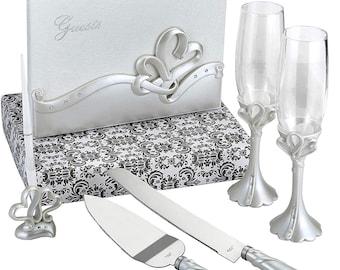 Interlocking Hearts Gift Set (2 flutes, server set, guest book and pen)