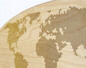 Geometric Hexagon World Map Wall Art, Wall Decor, Home Decor 58 x 25 cm