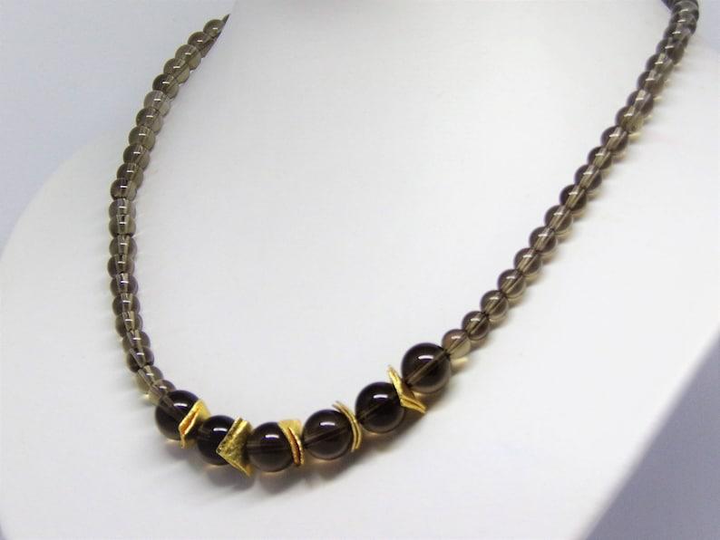 Necklace  brown smokey quartz