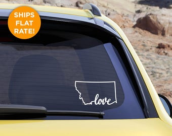 "Montana State ""Love"" Decal - MT Love Car Vinyl Sticker - Add a heart over Billings, Missoula, Great Falls, Bozeman, Helena"