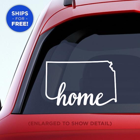 "Kansas State ""Home"" Decal - KS Home Car Vinyl Sticker - Add a heart over Wichita, Overland Park, Kansas City, Topeka, Olathe, Lawrence, Hays"