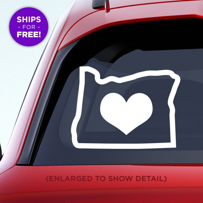 Made with outdoor vinyl Salem or Bend Eugene Add an optional heart over Portland OR Home Car Vinyl Sticker Oregon State Home Decal