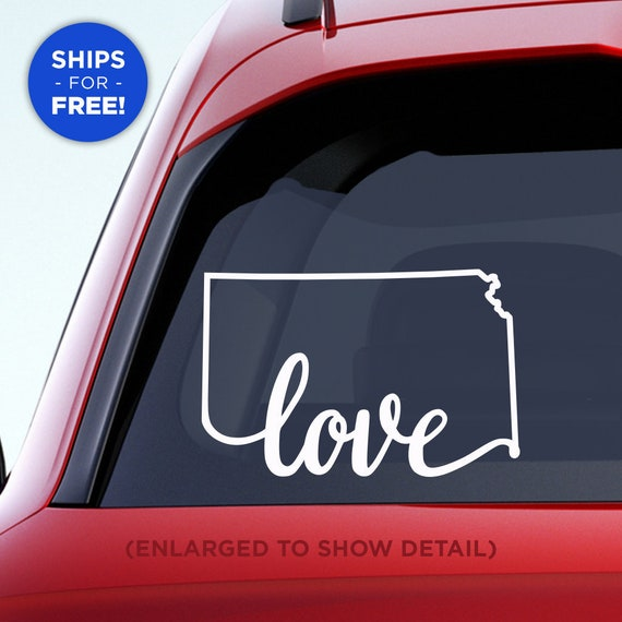 "Kansas State ""Love"" Decal - KS Home Car Vinyl Sticker - Add a heart over Wichita, Overland Park, Kansas City, Topeka, Olathe, Lawrence, Hays"