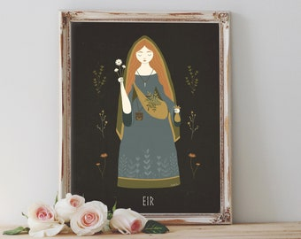 Art Poster Print - Eir Goddess Norse Mythology Healer Druid Shaman Forest Wild Nature Pagan Wiccan Folk - Home Decor - House Warming Gift