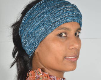 Magic Headband Head wrap , Handloom Cotton Hair  with Elastic Thread