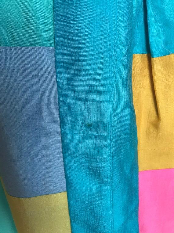 60's Keram New York Raw Silk Patchwork Maxi Dress… - image 9