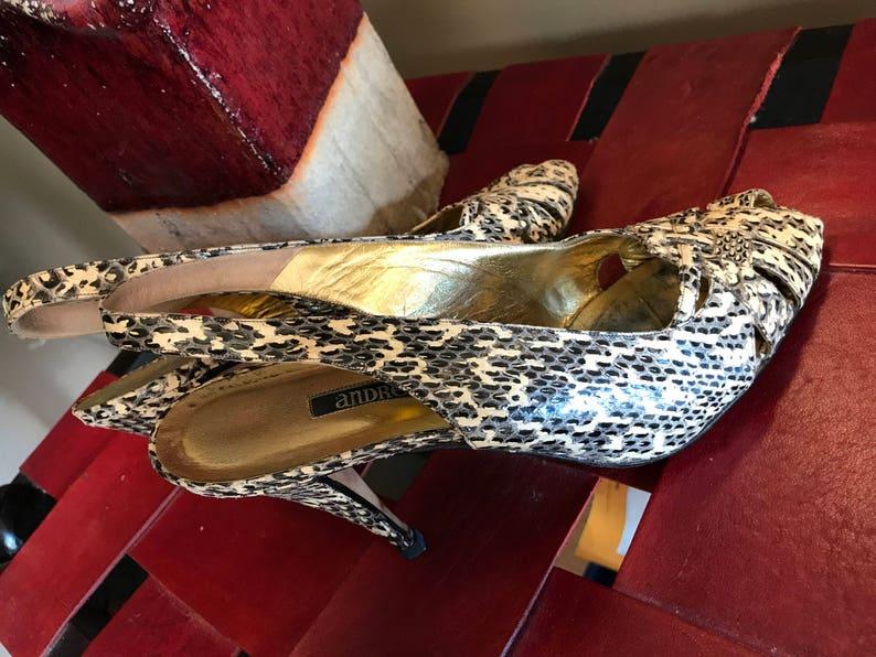 80s Vintage Andrea Pfister Snakeskin Slingback Pumps Shoes Size 9 M